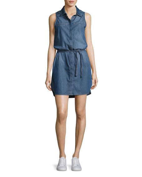PAIGE Eugenie Sleeveless Belted Chambray Shirtdress, Crispin