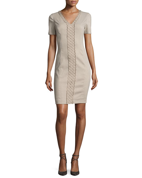 Loretta Short-Sleeve Linen-Blend Sheath Dress