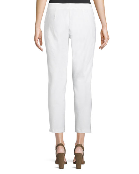 Washable Stretch-Crepe Slim Ankle Pants, Plus Size