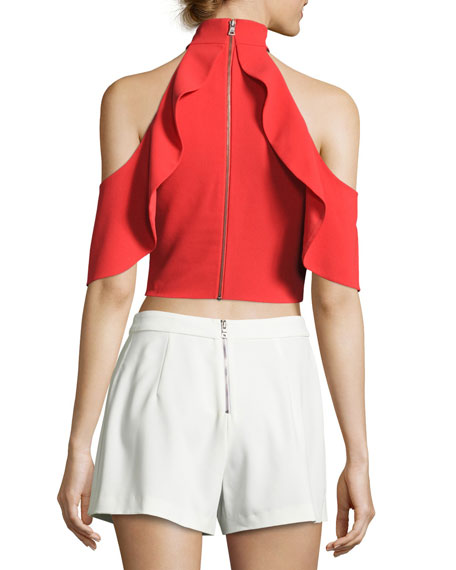 Cabot Cold-Shoulder Ruffle Crop Top