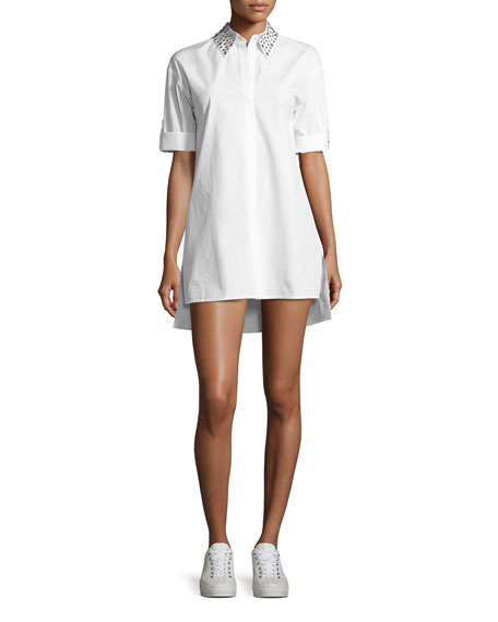 Alice + Olivia Camron Embellished-Collar Tunic Shirtdress, White