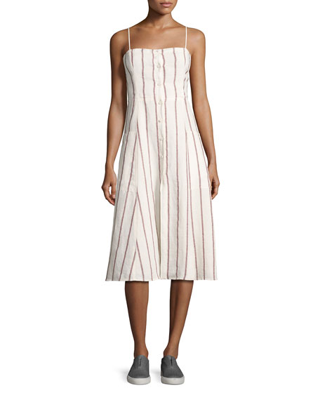 Theory Kayleigh Wide-Stripe Linen Sundress, White