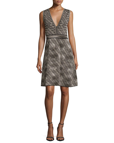 M Missoni Sleeveless Space-Dyed Fit-&-Flare Dress, Black Pattern