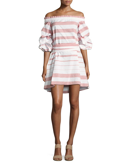 Olevetti Off-the-Shoulder Striped Dress, Pink/White
