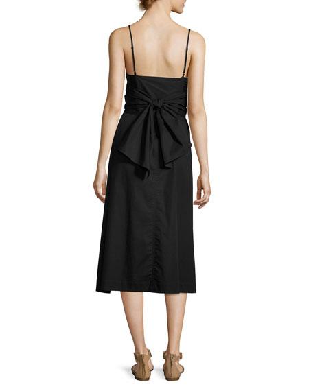 Oak Waist-Tie Poplin Midi Dress, Black