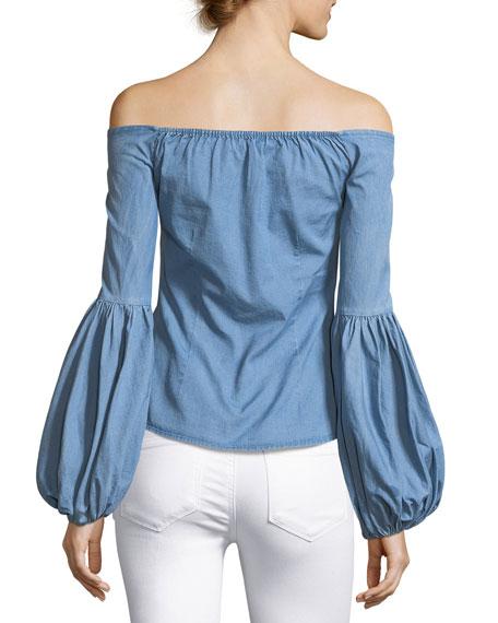 Gisele Off-the-Shoulder Blouse, Blue