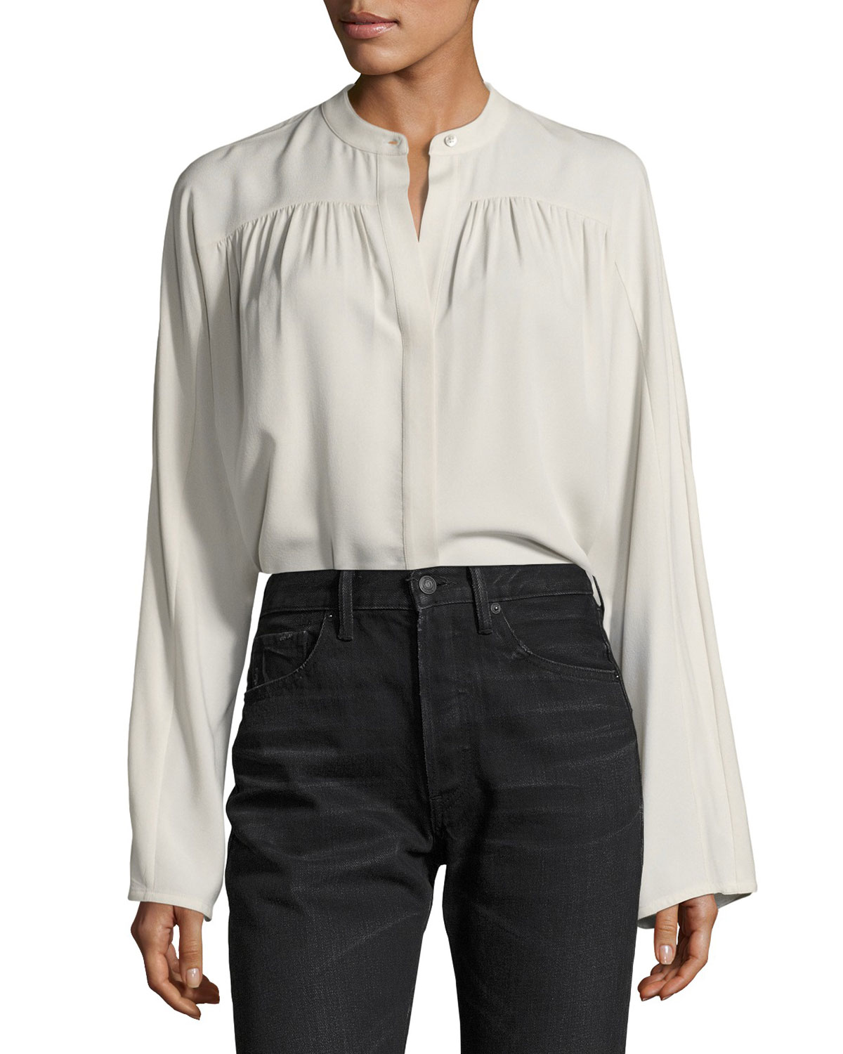 0d091ad145577 Vince Shirred Long-Sleeve Silk Blouse