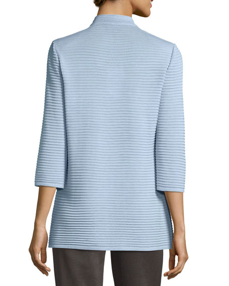 Image 3 of 4: Misook Plus Size Textured 3/4-Sleeve Hook-Front Knit Jacket