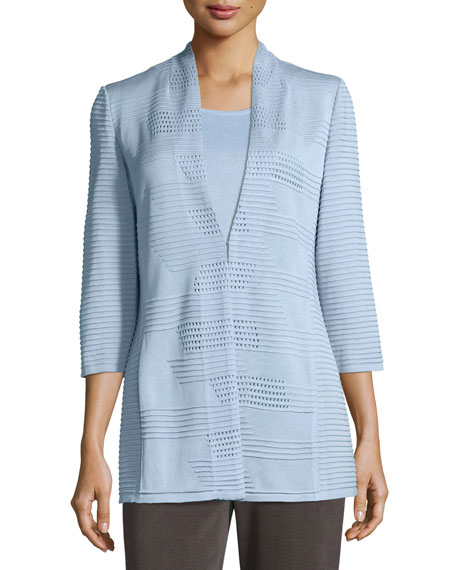 Image 4 of 4: Misook Plus Size Textured 3/4-Sleeve Hook-Front Knit Jacket