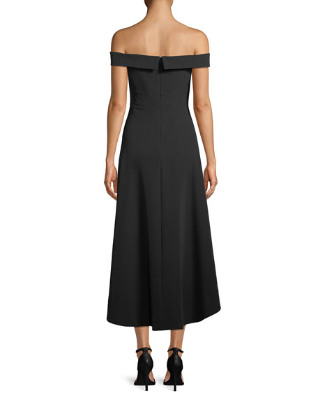 Image 2 of 3: Off-the-Shoulder High-Low Crepe Cocktail Dress