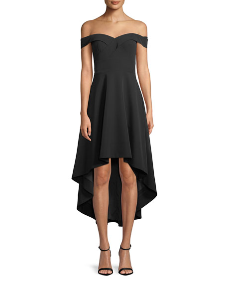 Image 1 of 3: Off-the-Shoulder High-Low Crepe Cocktail Dress