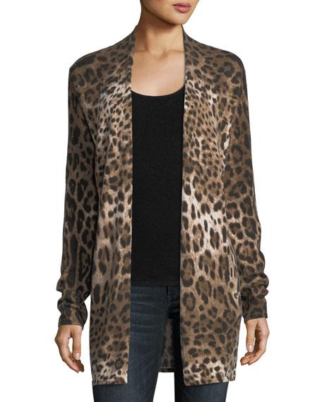 Neiman Marcus Cashmere Collection Leopard-Print Cashmere Duster