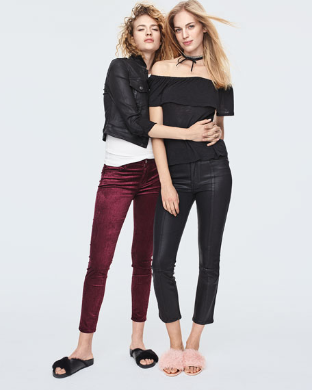 Edie Distressed Skinny-Leg Coated Pants