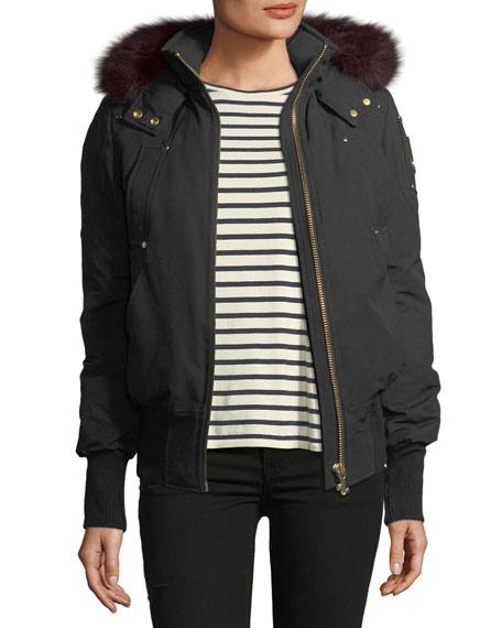 Latreille Zip-Front Bomber Jacket w/ Fur Collar