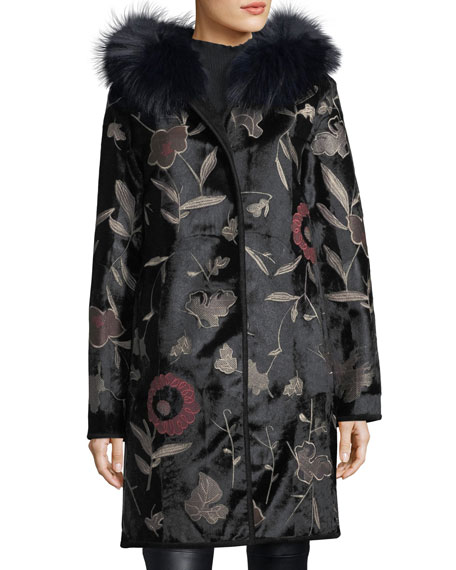 Belle Fare Floral-Embroidered Down Fur Coat with Fox-Fur