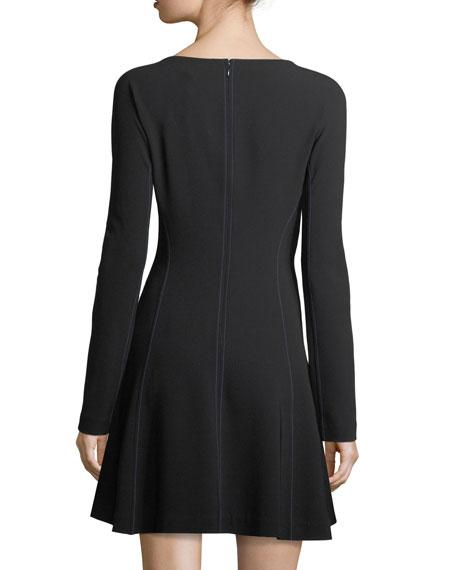 Long-Sleeve V-Neck Crepe A-Line Wrap Dress
