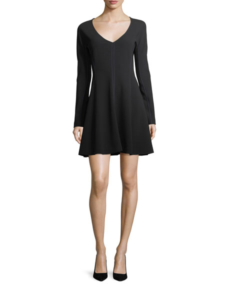 Long-Sleeve V-Neck Flare Dress