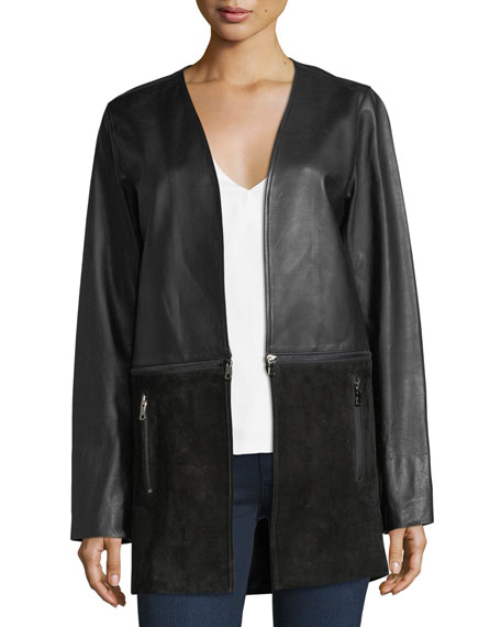 J Brand Emory Open-Front Zip-Off Leather & Suede
