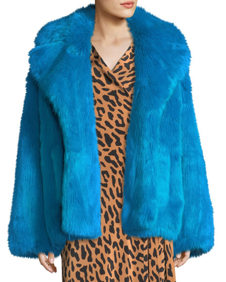 Faux-Fur Long-Sleeve Boxy Collared Jacket