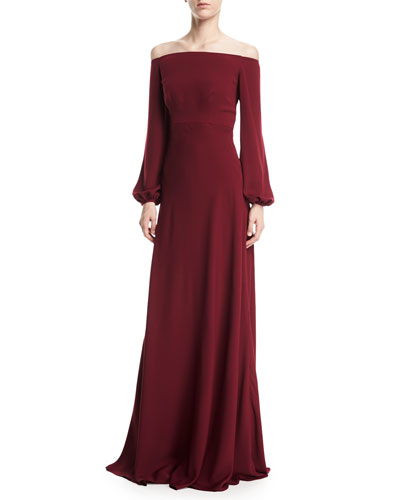 Long sleeve evening gowns dresses at neiman marcus off the shoulder blouson sleeve a line evening gown junglespirit Gallery