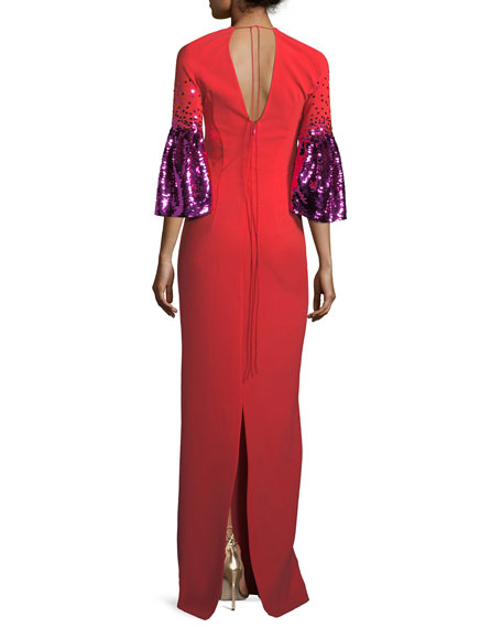 Byzas Sequin Bell-Sleeve V-Neck Column Dress