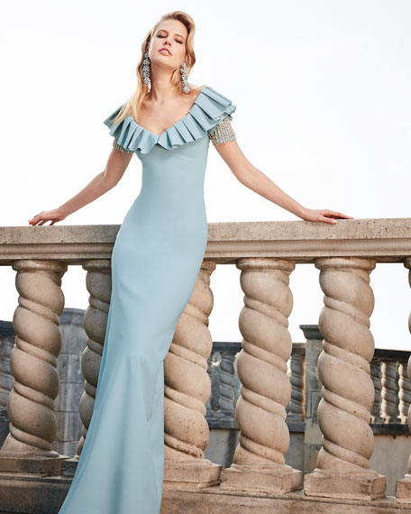 Veridiana Mermaid Off-the-Shoulder Gown
