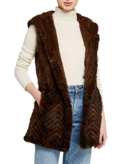 Belle Fare Herringbone Mink Fur Vest