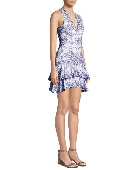 V-Neck Sleeveless Scallop Tiered Mini Dress