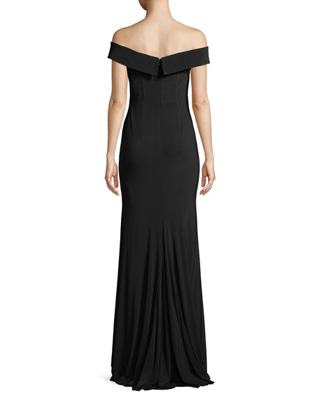 Jersey Off-the-Shoulder Gown w/ Slit