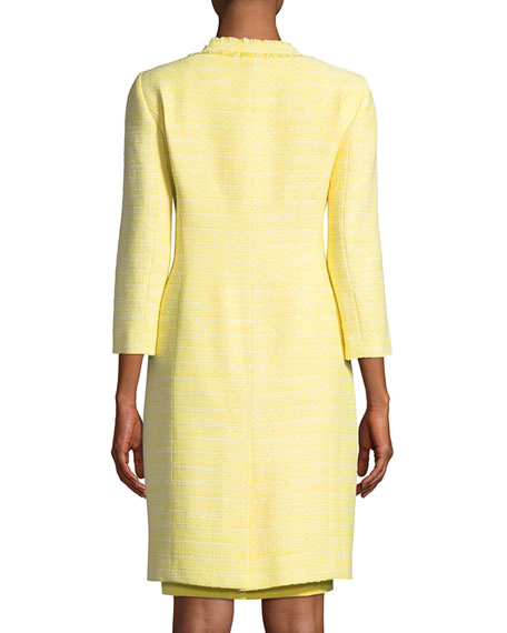 Albert Nipon Two-Piece Tweed Coat & Crepe Dress Set