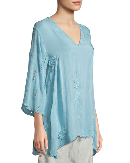 Chancy V-Neck Tunic w/Floral Embroidery
