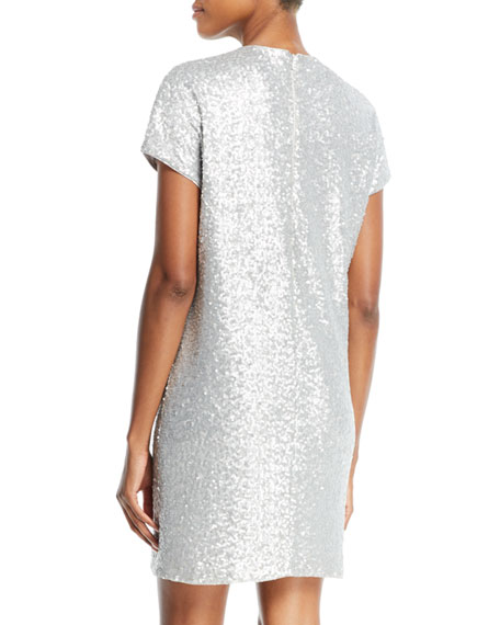 Sequin Short-Sleeve Biting Lips Cocktail Dress