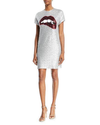 Sequin Short-Sleeve Biting Lips Cocktail Dress