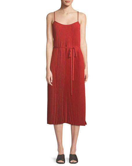 Image 1 of 4: Pleated Cami Midi Dress