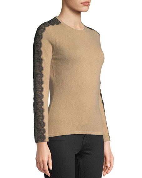 Crewneck Cashmere Sweater with Lace Trim