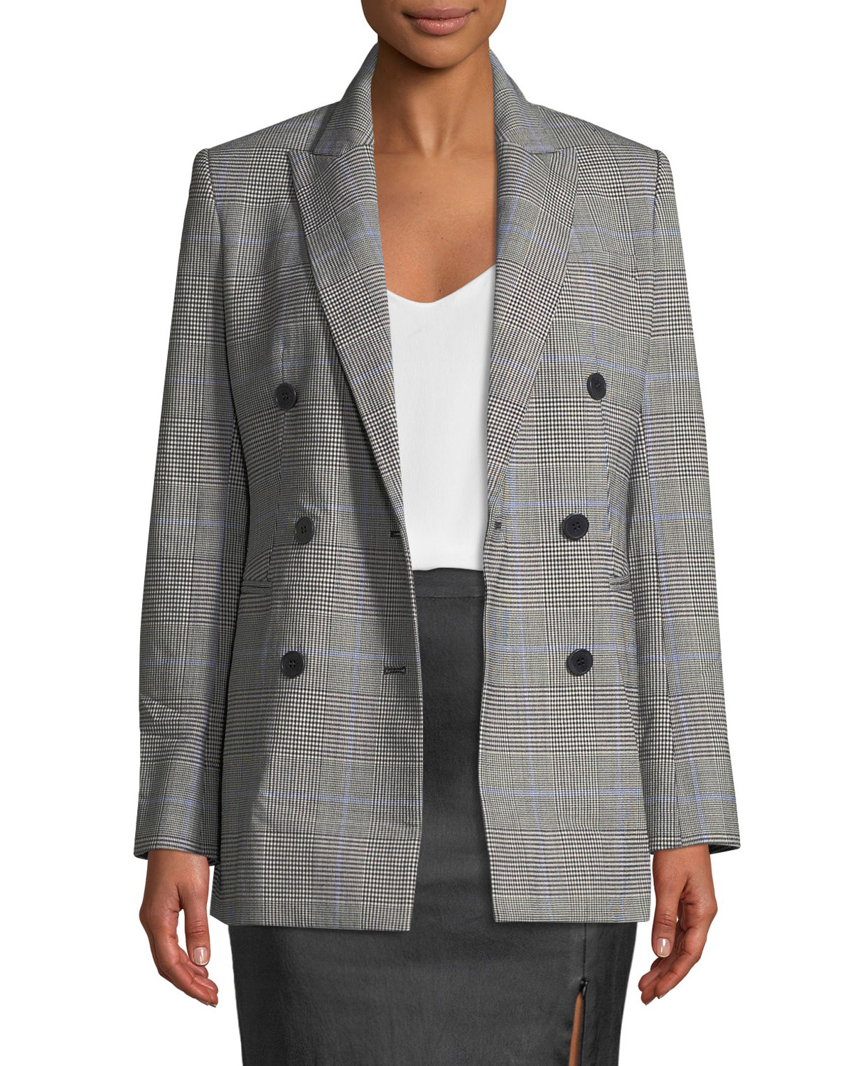 8f0ca8ddc54 Theory Power Portland Windowpane Double-Breasted Jacket | Neiman Marcus