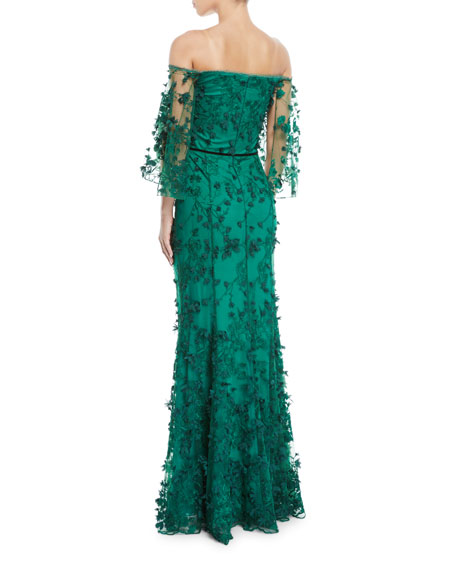 Off-the-Shoulder Gown w/ 3D Flower Lace