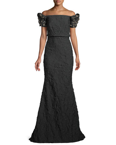 Stretch Jacquard Trumpet Gown with Beaded Sleeves