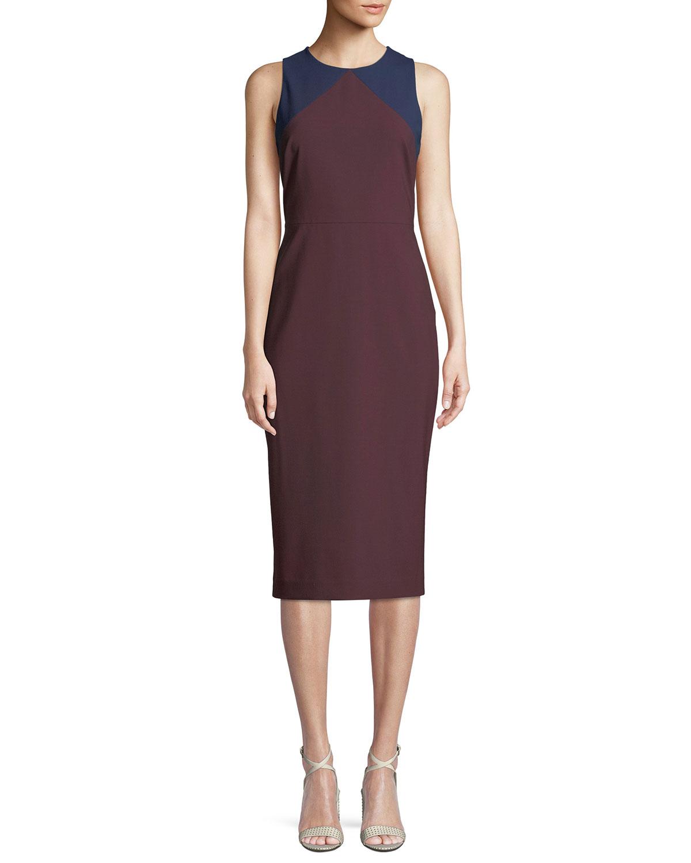 Diane Von Furstenberg Sleeveless Tailored Colorblock Midi