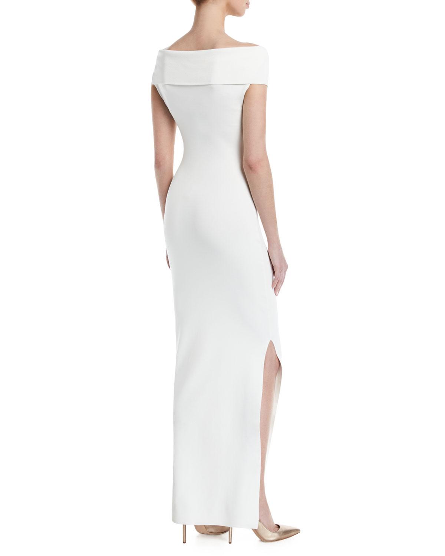 b87e989c13ef Solace London Adina Cross-Front Off-Shoulder Gown Dress   Neiman Marcus