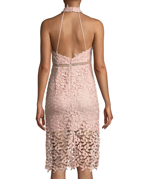 Image 2 of 3: Gemma Lace Halter Cocktail Dress