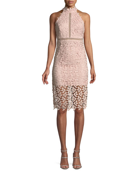Image 1 of 3: Gemma Lace Halter Cocktail Dress