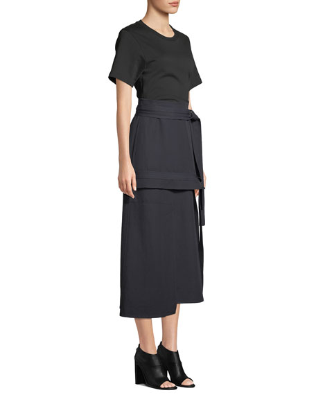 3.1 Phillip Lim Short-Sleeve Dress With Front-Tie Skirt