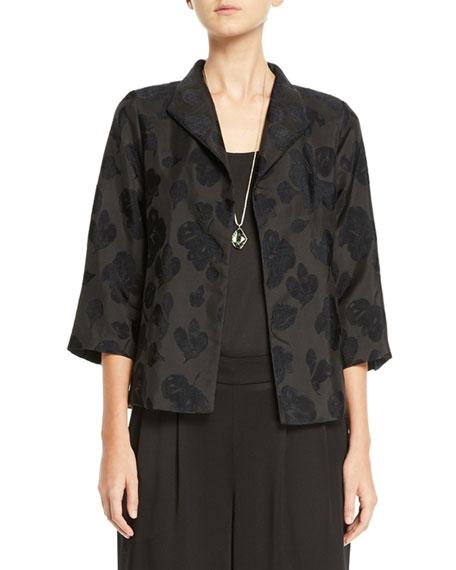Eileen Fisher Botanical Jacquard 3/4-Sleeve Jacket