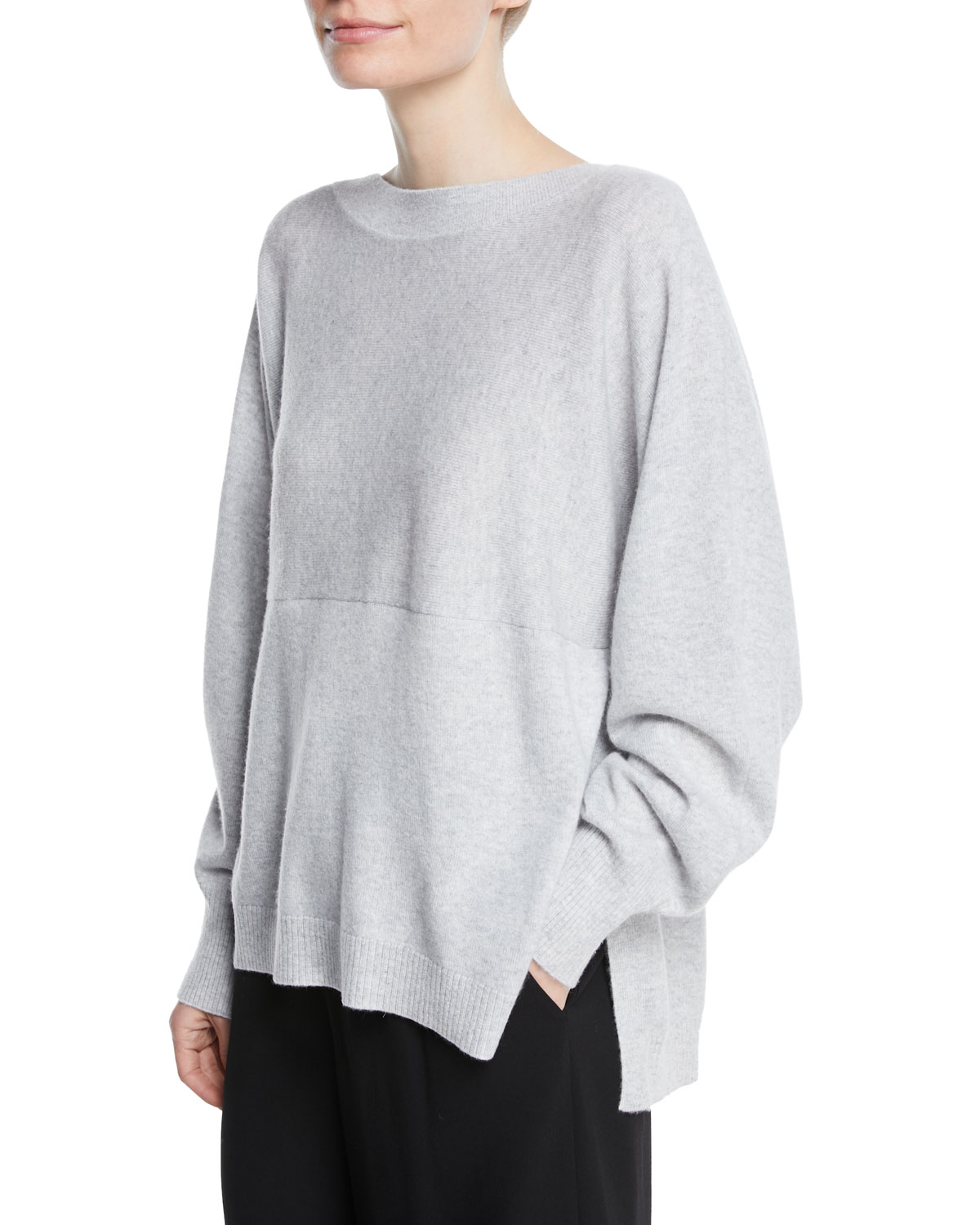 0cb1ae63ba616 Vince Side-Slit Boat-Neck Wool/Cashmere Sweater | Neiman Marcus