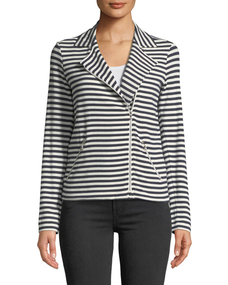 Image 3 of 4: Majestic Filatures Zip-Front Long-Sleeve Striped Moto Blazer