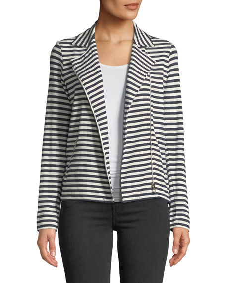 Image 1 of 4: Majestic Filatures Zip-Front Long-Sleeve Striped Moto Blazer