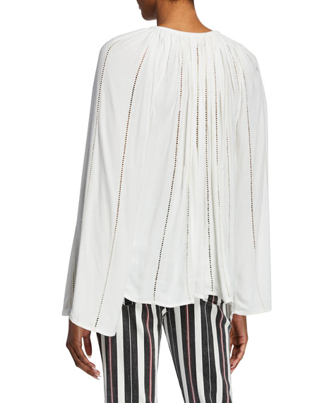 FRAME Lattice Long-Sleeve V-Neck Peasant Top