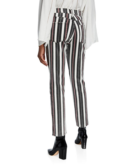Image 2 of 4: FRAME Le Sylvie Striped High-Rise Cropped Jeans