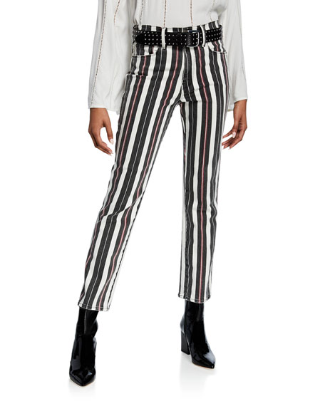 Image 3 of 4: FRAME Le Sylvie Striped High-Rise Cropped Jeans
